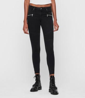 AllSaints Grace Biker Mid-Rise Cropped Jeans, Black