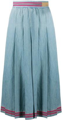 Gucci Pleated Denim Skirt