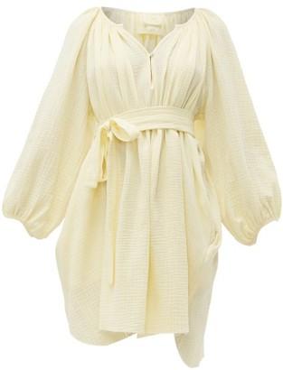 Loup Charmant Peasant Tunic Crinkle-cotton Mini Dress - Womens - Yellow