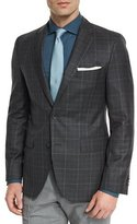 HUGO BOSS Jeen Plaid Two-Button Wool Sport Coat, Charcoal