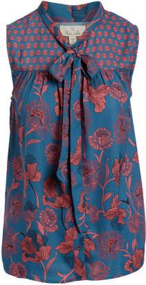 Très Jolie Women's Blouses Teal - Teal Floral Tie-Neck Sleeveless Top - Women