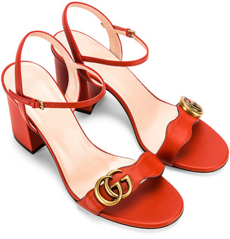 Gucci Leather Mid Heel Sandals in Bright Pumpkin | FWRD