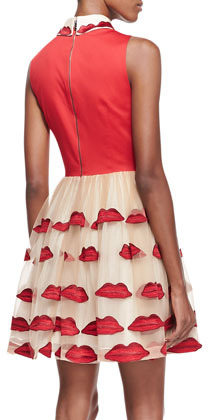 Alice + Olivia Pout Lip-Embroidered Dress