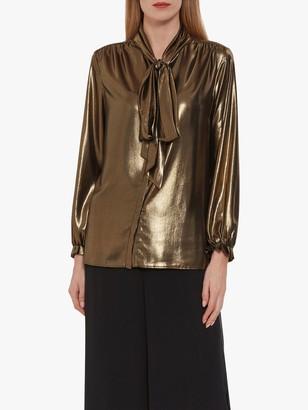 Gina Bacconi Kezia Metallic Chiffon Blouse, Black/Gold