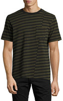 Rag & Bone Blake Clashing-Stripes Crewneck T-Shirt, Olive