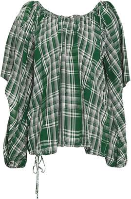 Rosie Assoulin Cutout Draped Checked Woven Top