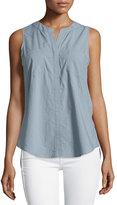 Neiman Marcus Sleeveless Flyaway Cotton Blouse, Shale