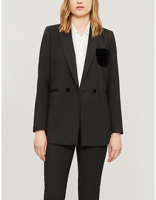Sandro Velvet-pocket stretch-woven double-breasted blazer