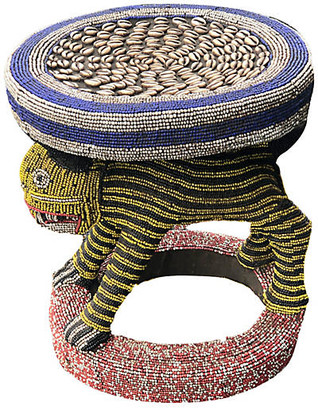 One Kings Lane Vintage LG King Bamileke Beaded Table/Stool - multi