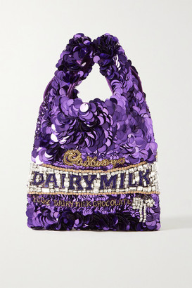 Anya Hindmarch Embellished Satin Tote - Purple