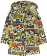 Burberry Girl Reclining Figures print trenchcoat with a hood