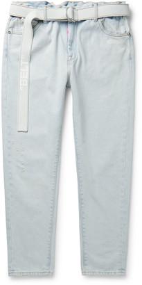 Off-White Off White Slim-Fit Belted Logo-Print Denim Jeans