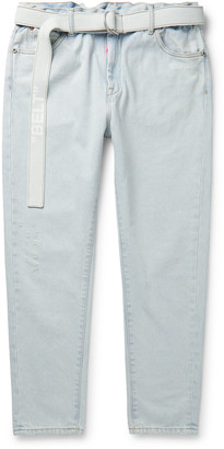 Off-White Slim-Fit Belted Logo-Print Denim Jeans