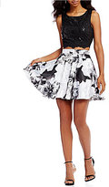Jodi Kristopher Sequin Lace Top With Floral Print Skirt Two-Piece Dress