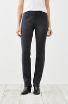 J. Jill Ponte Knit Slim-Leg Windowpane Pants