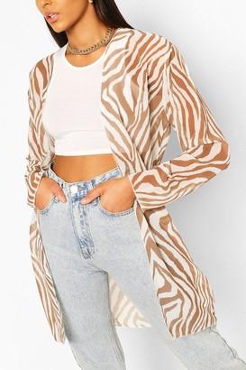 boohoo Tonal Zebra Midi Kimono