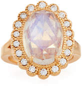 Penny Preville 18k Rose Gold Scalloped Moonstone & Diamond Ring, Size 6