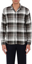 Officine Generale Men's Plaid Cotton Twill Shirt-GREY, BLACK, WHITE