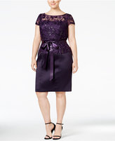 Adrianna Papell Plus Size Belted Sequined Sheath Dress