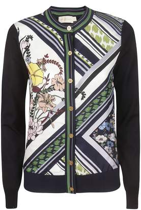 Tory Burch Leafy And Floral Print Buttoned Bomber