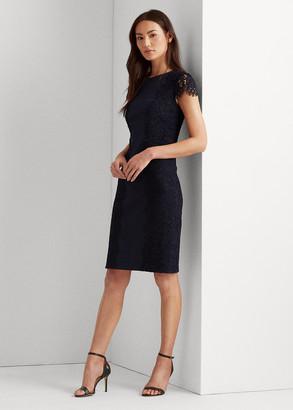 Ralph Lauren Jersey-Lace Cocktail Dress