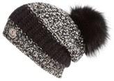 Moncler Women's Genuine Fox Fur Pom Melange Knit Beanie - Black