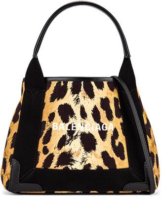 Balenciaga XS Leopard Navy Cabas Bag in Beige & Black   FWRD