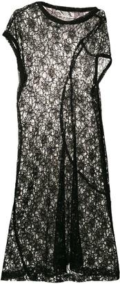 Comme Des Garçons Pre Owned Asymmetric Sheer Lace Dress