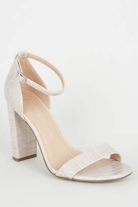 New Look Womens Wide Fit Faux Croc Block Heel Sandals - Grey