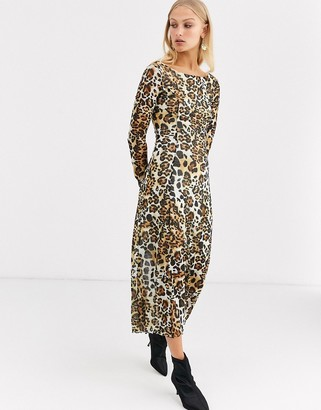 And other stories & long sleeves jersey dress in leo print-Multi
