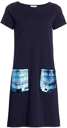 Joan Vass Petite Sequin-Pocket Cotton Shift Dress