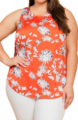Daniel Rainn Floral Sateen Tank Top