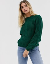 Pieces cable knit sweater in green