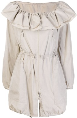 Giorgio Armani Pre Owned 2000's Ruffled Drawstring Coat