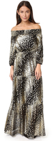 Shoshanna Off Shoulder Metallic Dot Gown