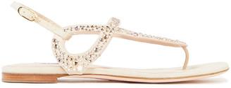 Stuart Weitzman Crystal-embellished Suede Slingback Sandals
