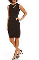 Calvin Klein Sleeveless Front Slit Solid Sheath Dress