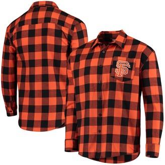 Men's Orange/Black San Francisco Giants Large Check Flannel Button-Up Long Sleeve Shirt