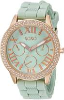 XOXO Women's XO8089 Gold-Tone Stainless Steel Watch with Mint Silicone Band