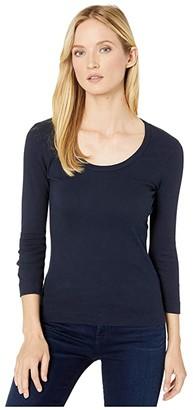 XCVI Essentials Speckle Long Sleeve 1x1 Rib Scoop Neck Tee (Aweigh Blue) Women's T Shirt