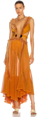 PatBO Netted Fringe Beach Dress in Sunflower | FWRD