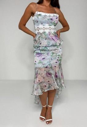 Missguided Floral Print Lace Insert Midi Dress