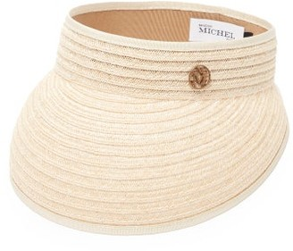 Maison Michel Patty Logo-plaque Hemp-straw Visor - Beige