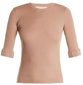 RED Valentino Lace-insert cashmere and silk-blend sweater
