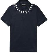 Neil Barrett - Slim-fit Printed Cotton-piqué Polo Shirt