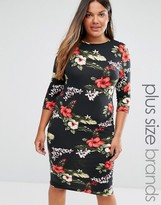 Club L Plus Midi Dress In Tropical Floral Print