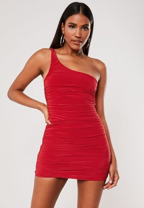 Missguided Petite Red Slinky One Shoulder Ruched Bodycon Mini Dress