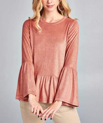 Spicy Mix Women's Tunics MAUVE - Mauve Ruffle-Trim Long-Sleeve Top - Women