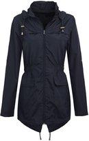 Chaos Theory Women's Plain Mac Jacket Fishtail Hooded Showerproof Parka Raincoat - US 18