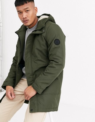 ONLY & SONS parka with borg lined hood and removable faux fur-Green